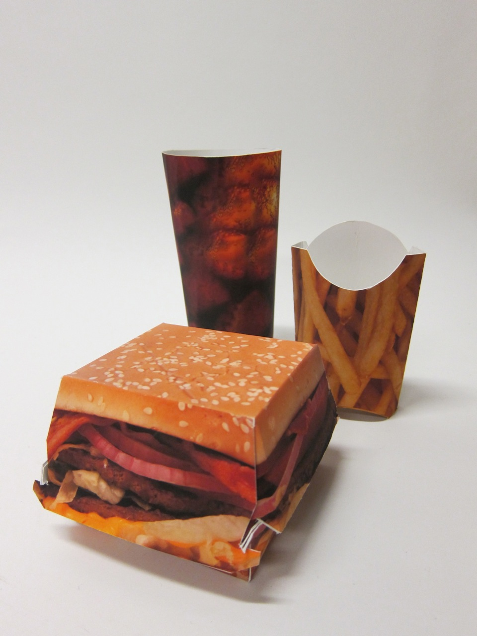 burger  fries and cola packaging  u00b7 david bordow